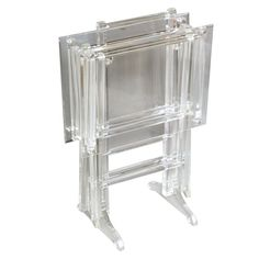 Fabulous Set Of Lucite Tray Tables On Stand