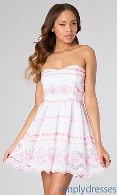 Short Strapless Sweetheart Print Dress at SimplyDresses.com WANT.