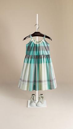 Burberry Aqua Green Frill Detail Check Cotton Dress - Lightweight cotton dress in check. Elasticised neckline with frill detail, full skirt. Discover the childrenswear collection at Burberry.com