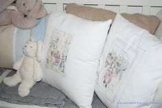 DIY painted Peter Rabbit pillow cases Peter Rabbit, Diy Painting, Little Boys, Bed Pillows, Pillow Cases, Room, Pillows, Rooms, Baby Boys