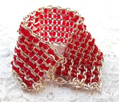 Bracelet Cuff Red Faceted Bicone Bead And Chain Cuff £8.00