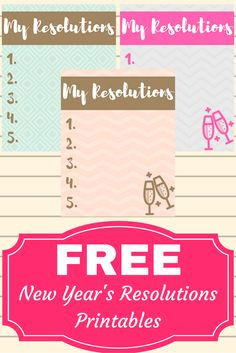 FREE New Year's Resolutions List Printables!
