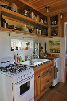 Shopdog Tiny House Kitchen. Half the sink and twice the fridge would result in the same counter space.