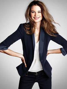Super cute Navy Tuxedo Blazer, perfect for going out during the holidays!