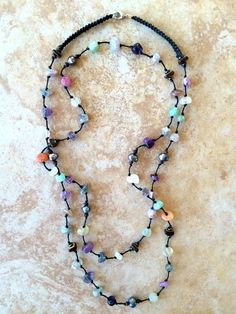 Rough Matte Glass Nuggets Necklace Wooden Beads by FrancaandNen