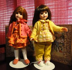 "Kripplebush Kids Dolls by Robert Tonner, are 8"" tall and a bit thinner than Ginny. There are three dolls in this series, Marni is a brunette, Hannah is the blonde, and Eliza is the redhead.    Unfortunately, these attractive little dolls were discontinued in 2001. The good news is that they can still be found easily and at a fair price. Several separate outfits were also available, and can be found by checking various online doll sources, or by searching the keywords ""Tonner"