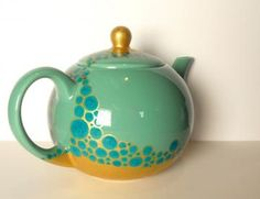 Big greenish Teapot with turquoise bubbles and gold, one of a kind