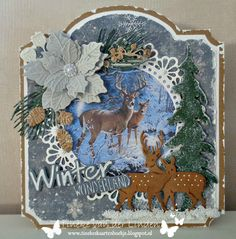 Handmade card by DT member Tineke with Craftables Tiny's Deer (CR1289), Winter Wonderland (CR1347), Twine Circle (CR1414), Creatables Spar (LR0378), Petra's Poinsettia (LR0435), Petra's Twigs Set (LR0437) and Petra's Larix (LR0438) from Marianne Design