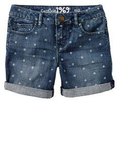 adorable dot denim shorts, you could prob DIY this