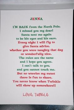 elf on the shelf arrival letter – Google Search | best stuff