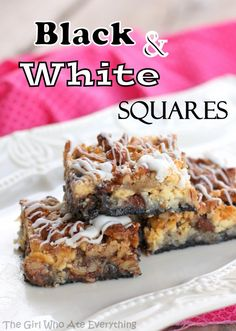Black and White squares: oreos, white chocolate chips, milk chocolate chips, coconut, and nuts.