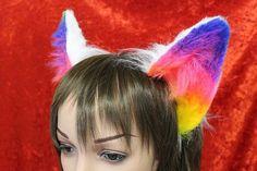 Flexi Rainbow Party Cat Ear Headband - Neko Kitty Ears Poseable - great for furries fursuits gijinka - rainbow black white grey & custom Animals In The Bible, Big Animals, Furry Fursuit, Cat Ears Headband, Metal Headbands, Animal Ears, Rainbow Pride, Alternative Outfits, Neko