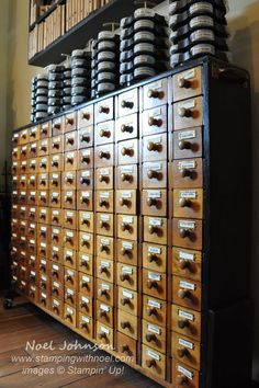 I like the idea of an old card catalog to put little things! Swirlydoos Monthly Scrapbook Kit Club: Forums / Scrap Room ORGANIZATION! / Embellishment Organization Systems
