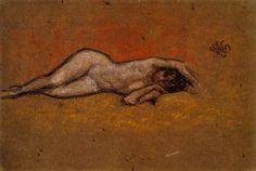 The Athenaeum - Nude Reclining (James Abbott McNeill Whistler - circa 1878)
