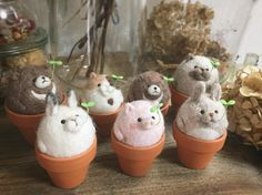Cute Needle felting project wool animals (Via @cotocotofeltworks)