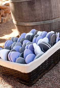 Gray and purple flip flop wedding favors