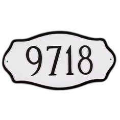 House numbers plaque white black