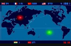 """Timelapse of all atomic devices detonated between 1945-1998. """"Japanese artist Isao Hashimoto created this video timelapse of all the nuclear explosions that have occurred between 1945-1998. In total, there have been 2053 nuclear explosions during that time excluding data from North Korea."""""""