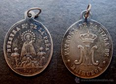 Medalla religiosa antigua NUESTRA SEÑORA DE LA PEÑA BRIHUEGA siglo xix plata - Foto 1