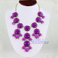 Purple Bubble Bib Necklace Charm Necklace Statement by stillblue, $6.50