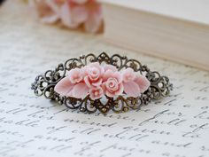 Pink Flower Bouquet Filigree Hair Barrette. Vintage Style Antique Brass Filigree Clip Barrette with Pink Flower. Bridesmaid Hair Accessory by LeChaim on Etsy https://www.etsy.com/listing/107808373/pink-flower-bouquet-filigree-hair