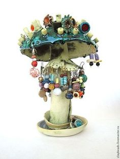 Купить Изумрудный Мухомор. Керамическая подставка для украшений - подставка для украшений, необычные предметы, мухомор, Керамика