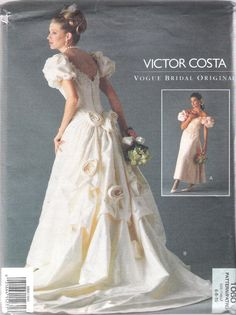 Vogue 1060 Victoria Costa 1990's Vogue Bridal Original Bridal Gown in Two Lengths; Size(s) 6-8-10