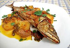 "Fish ""plaki"" (Greek-style baked fish with tomato and potatoes) Greek Fish Recipe, Greek Recipes, Fish Recipes, Seafood Recipes, Cooking Recipes, Healthy Recipes, Baked Whole Fish, Baked Fish, Food N"