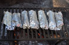 Campfire Breakfast Burritos- Great recipe! EVOL\'s burritos can be heated up on a camping trip like this as well!