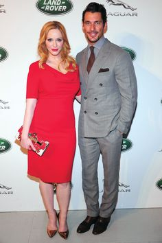 Proving that no-one pulls-off a double-breasted suit quite like Gandy, Britain's most famous male model buttoned-up this grey DB and paired it with a claret tie and pocket square at the Jaguar Land Rover Preview. Add Christina Hendricks into the mix and, needless to say, we thoroughly approve. See all of David Gandy's most sylish looks in his GQ Style File.