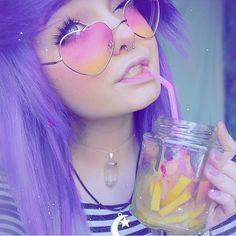 @milkwhore - instagram, purple hair, alternative, pastel, heart glasses, mason jar, pink straw, moon&star necklace, septum, scene, emo, wink;)