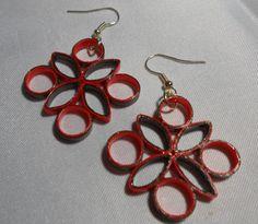 Medium Orange and Brown Handmade Paper Earrings by RheasOriginals