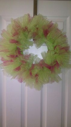Pink & Green Tulle wreath