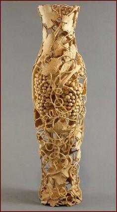 Untitled Vase by artist Nairi Safaryan ~ grapevine vase wood carving Wood Vase, Wood Wood, Wood Carving Art, Wood Carvings, Wood Creations, Gourd Art, Wooden Art, Wood Sculpture, Clay Sculptures