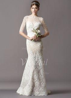 Wedding Dresses - $228.98 - Trumpet/Mermaid Scoop Neck Sweep Train Lace Wedding Dress (0025056547)