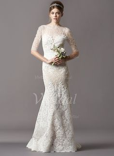 Wedding Dresses - $228.98 - Trumpet/Mermaid Scoop Neck Sweep Train Lace Wedding Dress (0025056547)