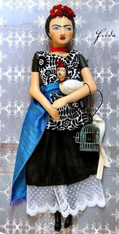 Frida doll and bird~Image © Christine Alvarado, Diego Rivera, Audrey Doll, Frida Art, Polymer Clay Dolls, Living Dolls, Mexican Art, Hello Dolly, Recycled Art, Doll Face