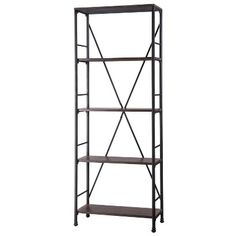 Threshold™ Mixed Material 5 Shelf Bookcase - Brown for either side of fireplace