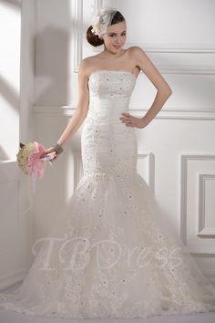 TBDress - TBDress Trumpet/Mermaid Strapless Appliques Chapel Train Floor-length Wedding Dress - AdoreWe.com