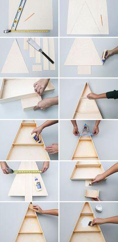 DIY Make a Modern Wooden Christmas Tree Display Shelf � Curbly | DIY Design Community