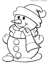 Снеговик в шарфе и шапке - скачать и распечатать раскраску. Раскраска Картинка снеговик, раскраски снеговик, новогодние раскраски скачать