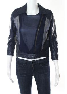 KYMERAH Navy Blue Leather Mesh Trim 3/4 Sleeve Mini Moto Style Jacket Sz XS #KYMERAH #BasicJacket