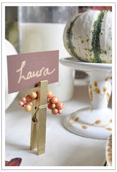Clothespins for seating assignments or food buffet