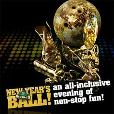 Nicoli's 21 and older New Year's Ball offers non-stop fun lasting deep into the night!   Tickets include: - All you can eat buffet - Unlimited cosmic bowling (Includes private VIP lanes) - DJ and dancing - All access arcade - Contests, games and prize giveaways - Champagne toast - Beverage specials - New Year's countdown  Doors open at 8pm and don't close until 1am! Tickets are available at Nicoli's front desk, or through your server– tickets are only $39.99/person!