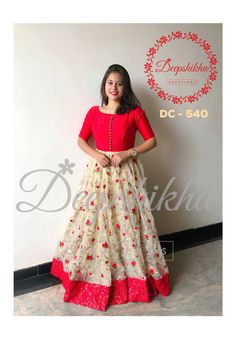 DC - 540 For queries kindly WhatsApp: 9059683293 Gown Party Wear, Party Wear Indian Dresses, Indian Gowns Dresses, Long Dress Design, Dress Neck Designs, Designs For Dresses, Blouse Designs, Long Gown Dress, Lehnga Dress