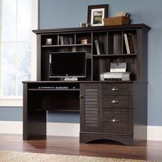 Amazon.com - Sauder Harbor View Computer Desk with Hutch Antiqued Paint - Home Office Desks