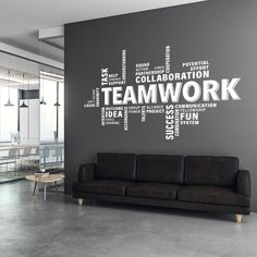 Decorate your office space with this teamwork motivational wall decal. The decal is suitable for any flat surface like walls, glass, furniture etc. It is perfect to add a touch of colour on those blank walls in the waiting room, office, conference and mee Office Wall Graphics, Office Wall Decals, Office Walls, Office Mural, Wall Sticker, Office Wall Design, Office Interior Design, Office Interiors, Office Wall Colors