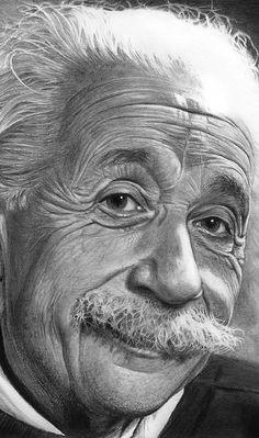 Dibujo a lápiz de Albert Einstein por Nestor Canavarro