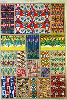 Egyptian Ornamental Design Antique French Chromolithograh Print CA 1885