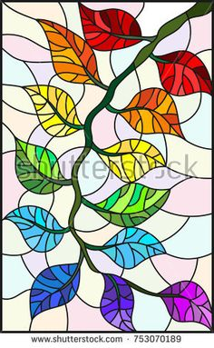 Illustration in stained glass style plant branch with leaves in bright colors on a light background